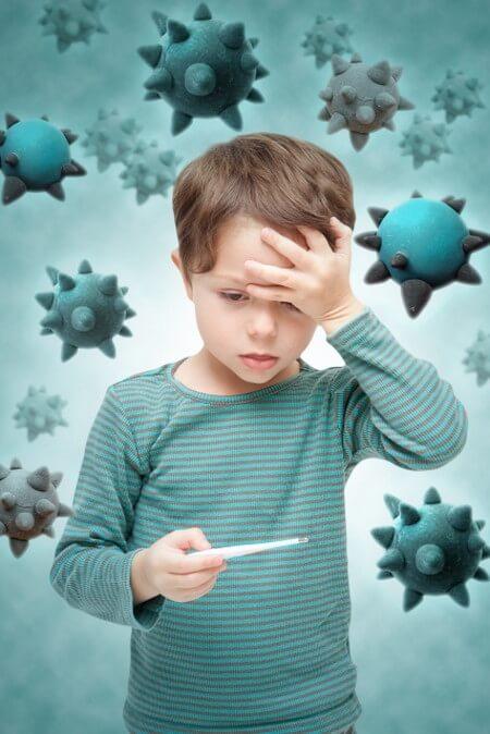 インフルエンザにかかった子供